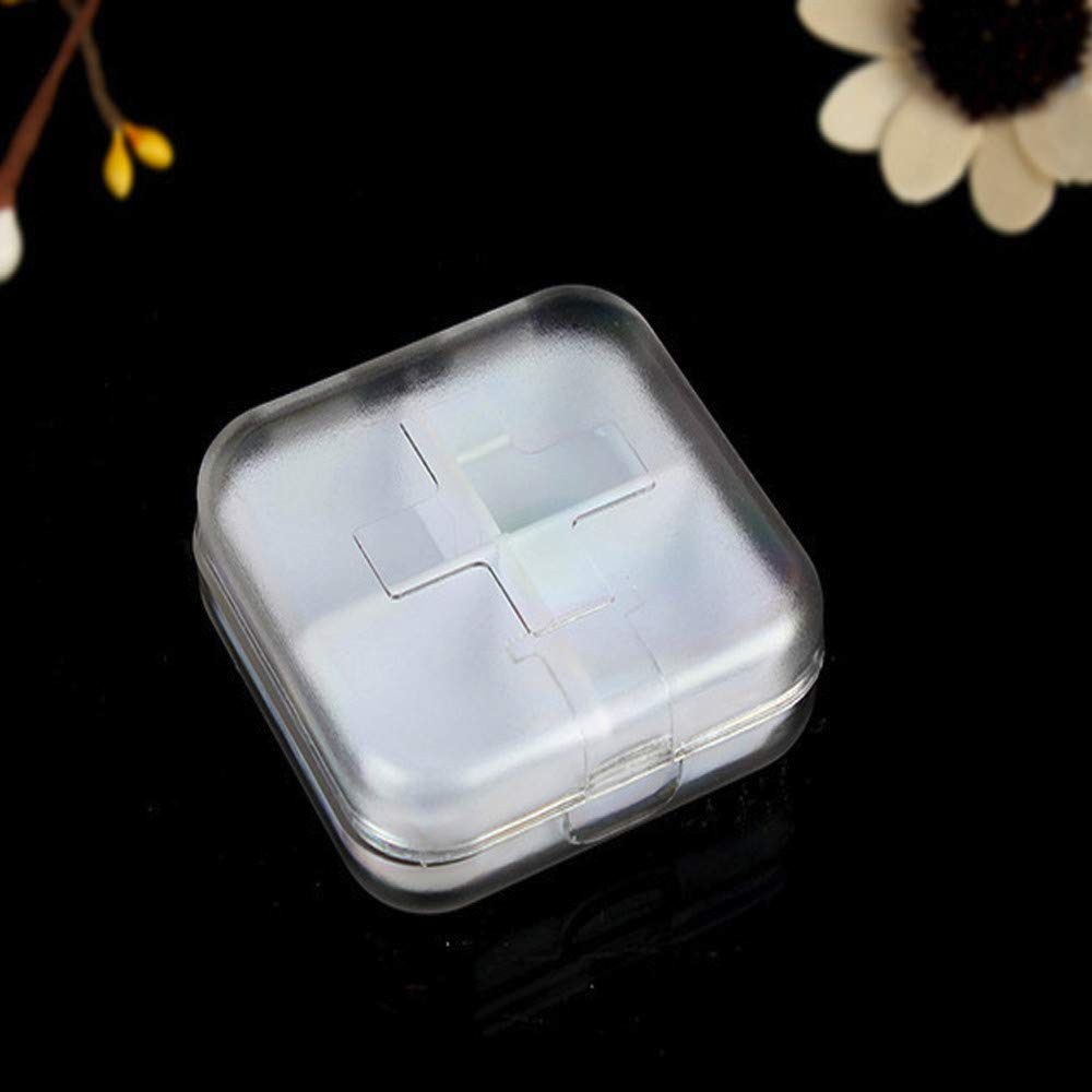 GXOK Square Portable Mini Small Kit Cute Four Grid Sub Box Pill Box-Travel Pill Box- Medicine Storage Dispenser for Home Travel (White)