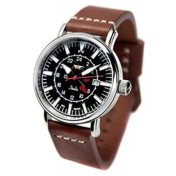 Reloj AVIADOR AV-1066-NPM - Reloj hombre edicion especial Stuka con esfera negra, GMT, correa en piel marrón envejecido pespunteada tipo NATO y grabación de ...