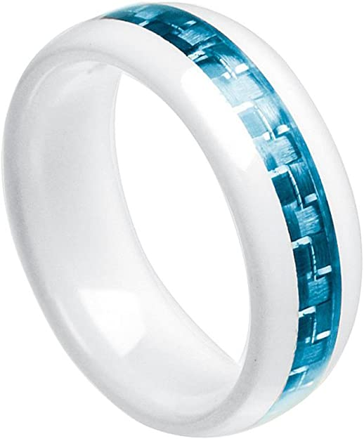 Details about  /Ceramic White 6mm Faceted Polished Band Ring
