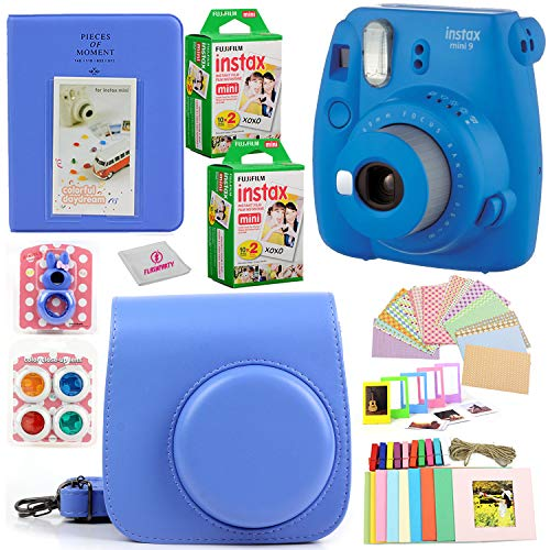 Fujifilm Instax Mini 9 Instant Fuji Camera (Cobalt Blue) + Case + Instant Mini 9 Film 40 Pack + Accessories Bundle: Colorful Picture Frames + Decorative Stickers + Selfie Mirror + Photo Album & More.