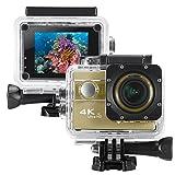 icefox ® Action-Kamera 4k, wasserdicht bis 30 Meter Unterwasser, WIFI Fernbedienung Kamera mit Sony-Objektiv, Loop-Aufnahme, 1080p Full HD, 170° Weitwinkel, HDMI Mikro-USB-TV-Ausgang, RSC Anti-Shake, 2,0' HD LCD-Display (Golden)
