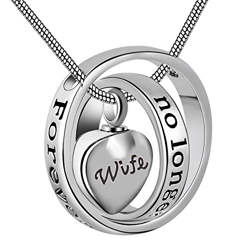Eternally Loved No Longer by My Side,Forever in My Heart Carved Locket Cremation Urn Necklace for mom & dad (Wife)
