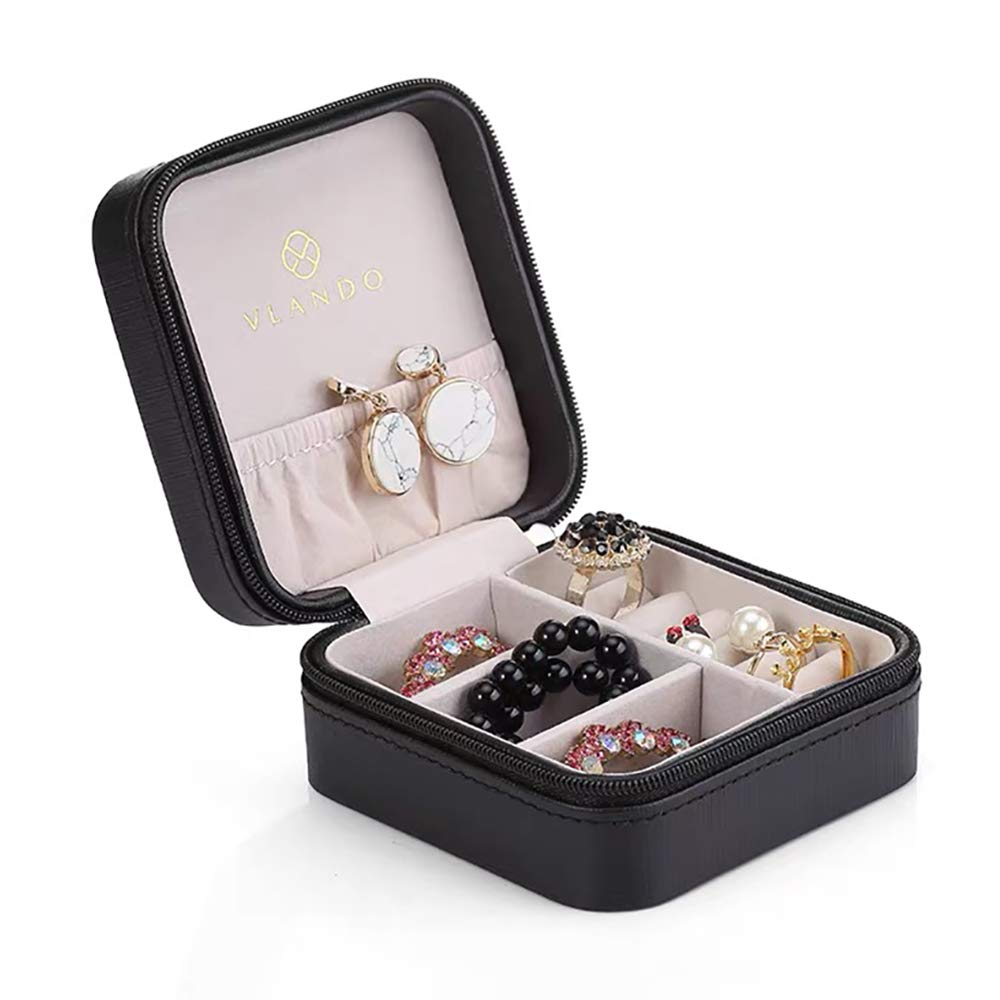 Vlando Small Faux Leather Travel Jewelry Box Organizer Display Storage Case for Rings Earrings Necklace Black