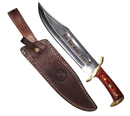 "17"" Bad Ass Mother Fucker! Hunting Bowie Survival Knife Military Blade With Sheath"