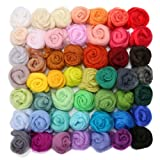 wet wool felting kits - Jeteven 50 Colors Merino Wool Fibre Roving Spinning Sewing Trimming For Needle Felting DIY Craft (5g per color)