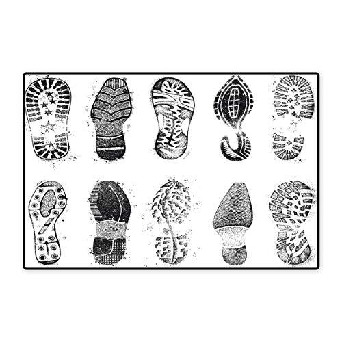 (Grunge Door Mats for Home Set of Various Shoe Tracks Human Foot Damaged Murky Artisan Walking Action Image Bath Mat for Bathroom Mat 16