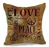 Inspirational Sayings – Love Peace Cotton Linen Throw Pillow Case Cushion Cover Home Office Decorative, Square 18 X 18 Inches (For Living Room, Sofa£¬car) ¡­