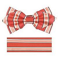 jacob alex #46830 formal Men's Diamond Shape Pre-tied Bow Tie and Hankerchieft Men coral pink