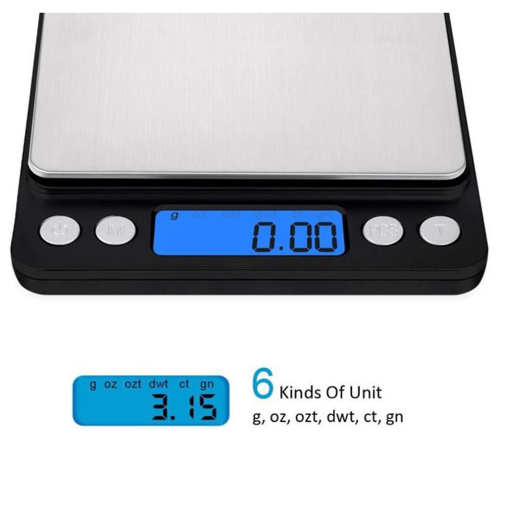 QMKJ El Salter agrega y Pesa Las Escalas de la hornada de la Cocina mecánica Mini balanzas electrónicas del Bolsillo 3kg 6 Clases de Unidad Incluyendo Las ...