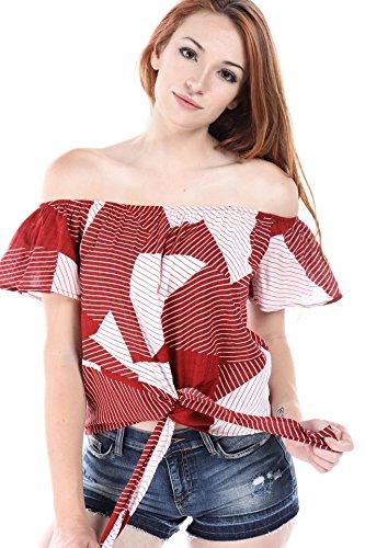 - SALT TREE Women's Linen Stripe Print Tie Front Flutter Sleeve Top