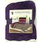Queen Size Fleece Blanket Solid Purple Soft Plush Microfiber Throw Blankets