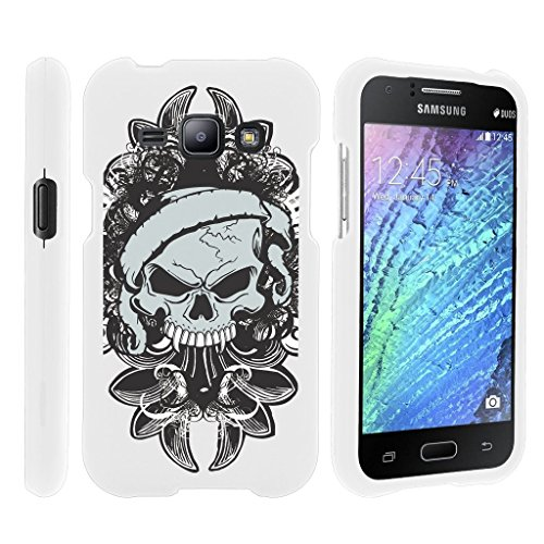 Miniturtle [Samsung Galaxy J1 case, J1 Cover] -[Snap Shell] 2 Piece Rubberized Hard White Case - Demon Skull (Snap Skulls Rubberized White)