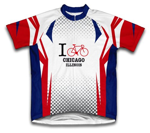 Illinois Cycling Jersey - ScudoPro Chicago Illinois IL Cycling Jersey for Men - Size L