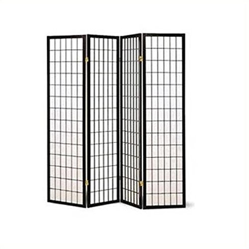 Coaster Oriental Style 4-Panel Room Screen Divider, Black
