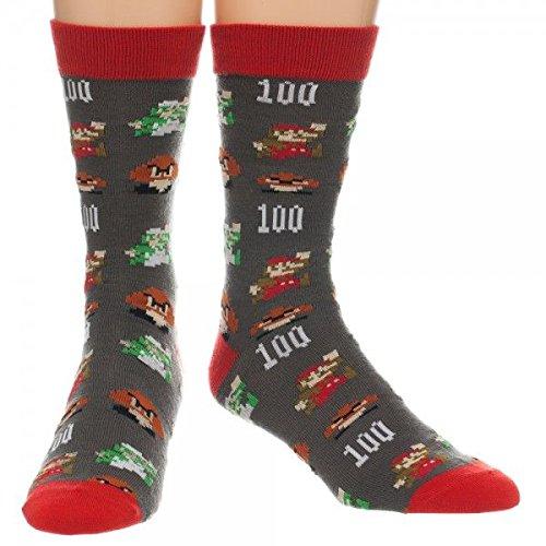 Nintendo Super Mario All Over Print Crew Socks, sock size 10-13, fits shoe size - Socks Mario