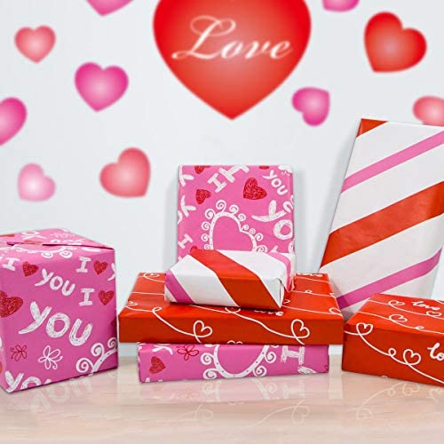 Valentines Wrapping Paper with Cut Lines for Valentine's Day Wedding Holiday 3 Pack
