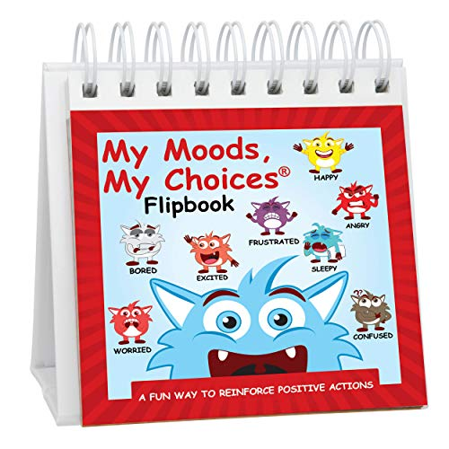 My Moods, My Choices Flipbook for Kids; 20 Different Moods/Emotions; Autism; ADHD; Help Kids Identify Feelings and Make Positive Choices; Laminated Pages (Monster Flipbook)