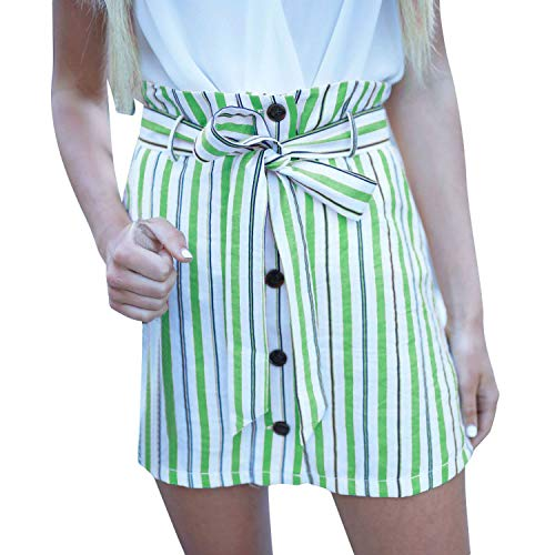 Cyan lemon Summer Skirt Women Short Mini High Waisted Multicolor Striped Wild A-Line Skirts,Green,XL,China