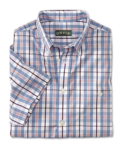Orvis Men's Wrinkle-Free Pure Cotton Pinpoint Oxford Short-Sleeved Shirt/Regular, Cadet Blue, Xx Large