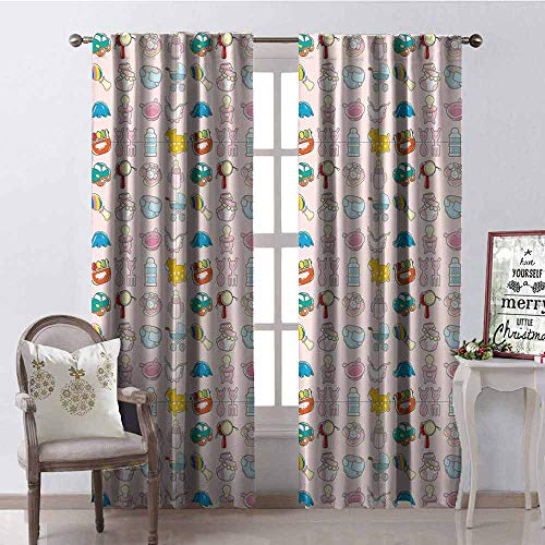 Gloria Johnson Baby Blackout Curtain A Vast Collection of Toys Cartoon Drawing Stroller Drum Car Pacifier Slide Playthings 2 Panel Sets W52 x L54 Inch Multicolor