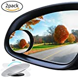 2 PCS Universal Upgrade Round-Shape Blind Spot Mirrors, Maleap HD Glass Convex Wide Angle 360 Rotatable Adjustable Stick-On RearView for All Car SUV Trucks Motorcycle