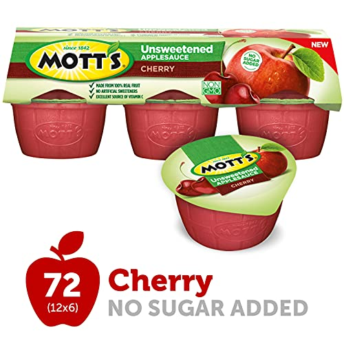 Mott's Unsweetened Cherry Applesauce, 3.9 Ounce Cup, 6 Count (Pack of 12)