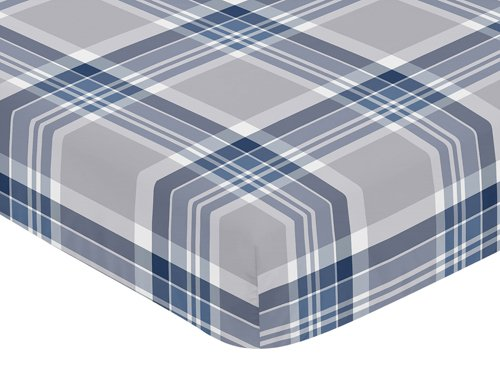 Sweet Jojo Designs Fitted Crib Sheet for Navy and Gray Plaid Baby/Toddler Bedding Set Collection - ()