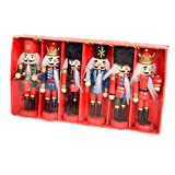 ZaH 5 Inch Wooden Christmas Nutcracker Ornaments Christmas Decorations for Holiday Decro Tree Stands (Pack of 6pcs Nutcracker Puppets)
