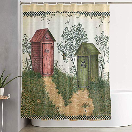 - Retro Outhouse Print Bath Shower Curtain Waterproof Bathroom Decor Curtain with Hooks 60