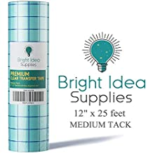 """Bright Idea 12"""" x 25 Feet CLEAR Transfer Paper Tape Roll with Grid - Self Adhesive Application Tape Roll for Perfect Alignment of Silhouette Cameo, Cricut Adhesive Vinyl for Decals, Signs, Walls,Glass"""