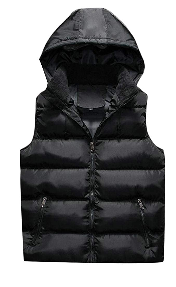 Alion Mens Winter Puffer Vest Hooded Quilted Warm Sleeveless Jacket Coats