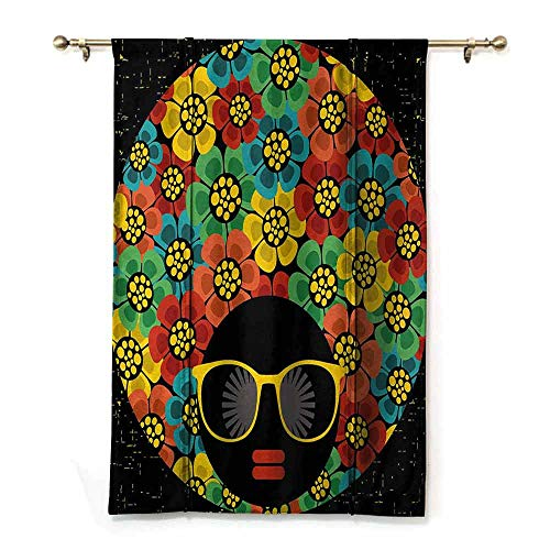 ZLMQWANXX Extra Long Roman Curtain 70s Party Abstract Woman Portrait Hair Style with Colorful Flowers Sunglasses Lips Graphic Children's Bedroom Curtain W48 x L64 Multicolor