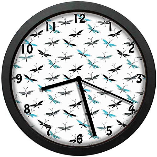 luckboy-zm Continuous Simplistic Abstract Winged Insect Art, Deep Sky Blue Charcoal Grey Pale Grey White Wall Clock Nice for Gift or Office Home Unique Decorative Clock Wall Decor 12in with Frame
