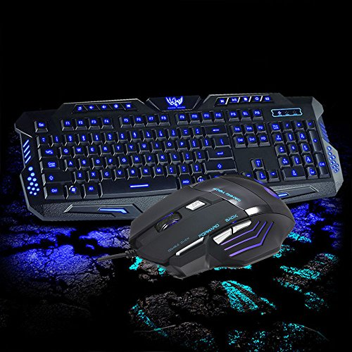 Backlight 3 Color LED Wired USB Gaming Keyboard with Mouse Set Kit US