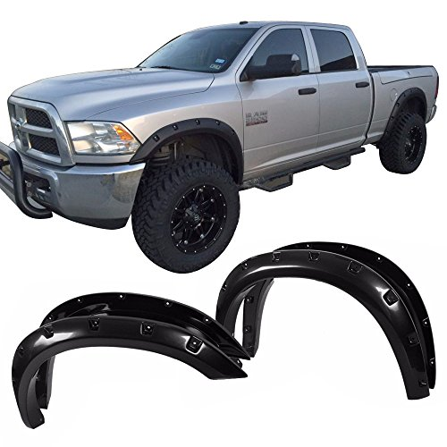 Fender Flares Fits 2010-2016 Dodge Ram 2500 3500 | Front Rear Right Left Wheel Cover Protector Vent Pocket Style Black Smooth Finish by IKON MOTORSPORTS | 2011 2012 2013 2014 2015