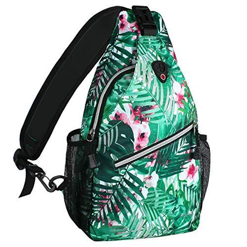 MOSISO Sling Backpack, Multipurpose Crossbody Shoulder Bag Travel Hiking Daypack, Palm Leaf Flower (Ipad Mini Shoulder Bag Mint)