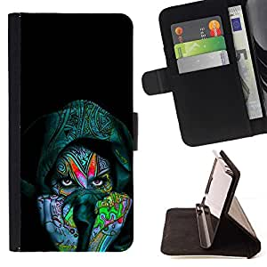 Momo Phone Case / Flip Funda de Cuero Case Cover - Colorful Indian Woman - LG G4c Curve H522Y (G4 MINI), NOT FOR LG G4