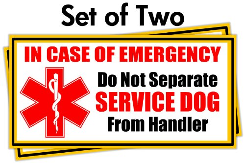 Service Dog Emergency Car Stickers ★ Set of 2 ★ Put on Car or Home Windows or Doors to Notify Police or Firefighters