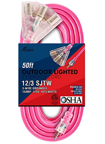 Ext Cord Indoor (Miusco 50 ft 12 Gauge Heavy Duty Outdoor Extension Cord, 3 Prong, 12/3 SJTW, Triple Outlets, Lighted Plug, Fluorescent Pink)