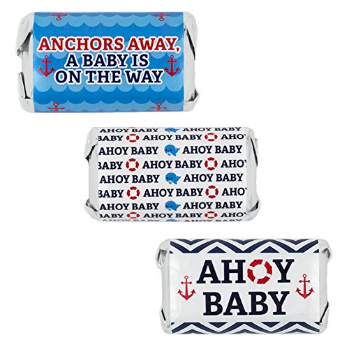 Lifesaver Baby Shower Favors (Nautical Ahoy Baby Shower Favor Stickers for Hershey's Miniatures Candy Bars (Set of)