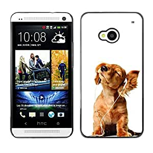 Vortex Accessory Carcasa Protectora Para HTC ONE ( M7 ) - Golden Retriever White Music Puppy -