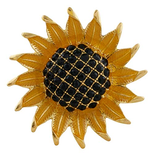 Large Gold Black Rhinestone Sunflower 18mm Snap Charm Button for Ginger - Snap Black Single