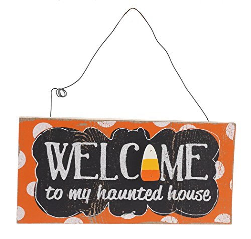 Welcome to My Haunted House Hanging Halloween Sign (Welcome To Halloween Party)
