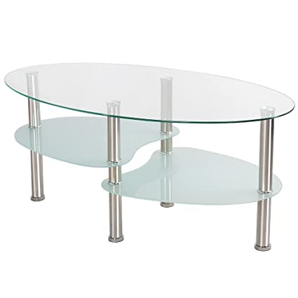Incroyable Topeakmart Modern Oval Glass Coffee Table Living Room Round Glass Side End Tables  With Metal Legs