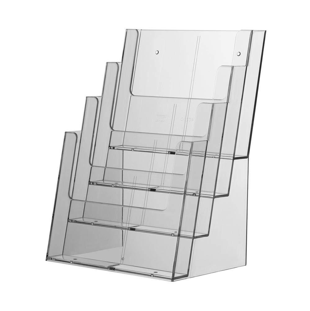 leichter Neigungswinkel Brosch/üren und Zeitschriften 3 x Tischprospektst/änder Universum DIN A4 Flyerst/änder Tischst/änder ideal f/ür Flyer Thekenaufsteller Tischaufsteller 4 F/ächer