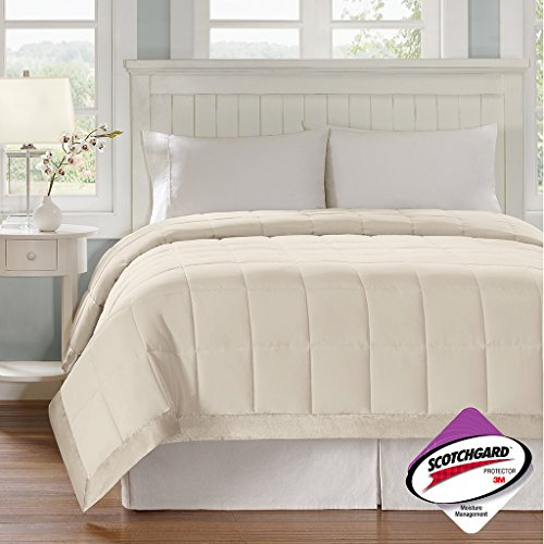 Madison Park Windom Microfiber Down Alternative Stain Resistant Blanket, Twin, Ivory