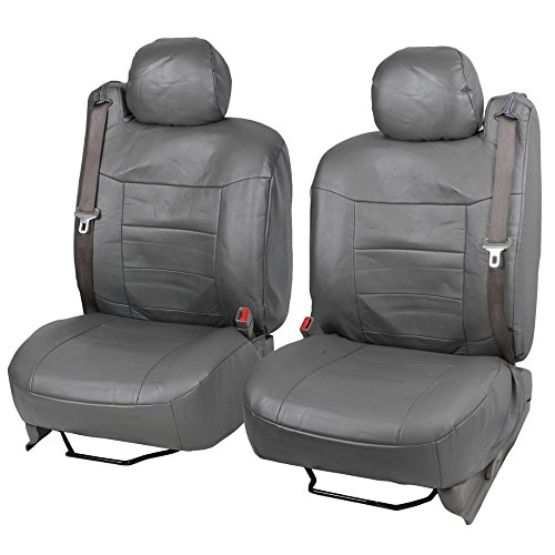 Gray Charcoal PU Leather Front Pair Seat Covers Luxury Leatherette for Built-in Seatbelt SUV Trucks