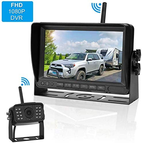 FHD 1080P Digital Wireless Backup Camera and Monitor Kit High-Speed Observation System for RVs Motorhomes Trucks Trailers with 7 Monitor Driving Reversing Use IP69K Waterproof Super Night Vision