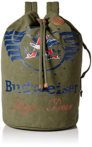 Budweiser by Buxton Men's Eagle Wings Drawstring Bucket Bag Accessory, green, ()