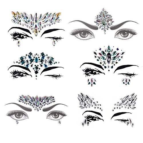 AiQueen 6 Sheets Mermaid Face Gems Crystal Face Gems Stickers Tattoo Face Jewels Eyes Tattoo Transfer Eyeshadow Eyeliner Face Stickers ()